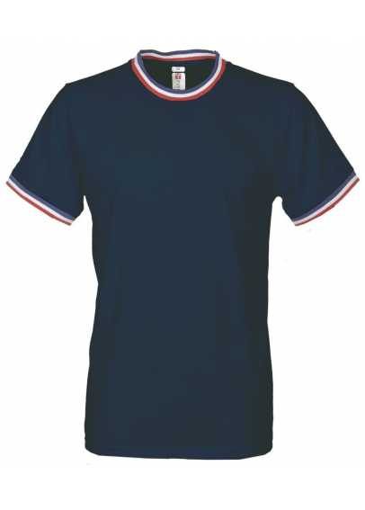 TEE-SHIRT FLAG 100% JERSEY COTON COL ET MANCHES TRICOLORES
