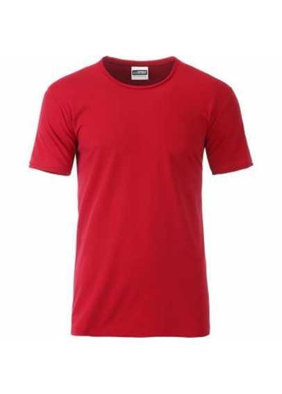 Tee-shirt bio Rouge à ourlets